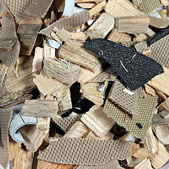Leather, Denim Cloth, Wood Chips, Nylon